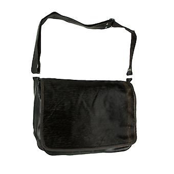 Genuine Leather and Hair-On Hide Laptop Messenger Bag