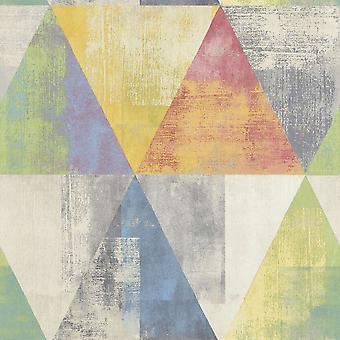 Rasch Green Yellow Blue Red Pastel Triangle Paste Wall Geometric Vinyl Wallpaper