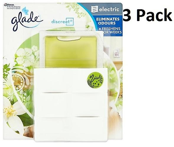 3 x Glade Discreet Electric Plug In Air Freshener Unit & Refill - Bali Sandalwood & Jasmine