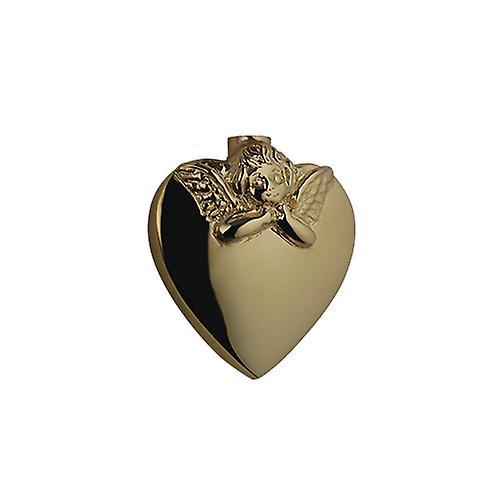9ct gull 25x22mm håndlaget preget Angel hjerte formet Memorial medaljong