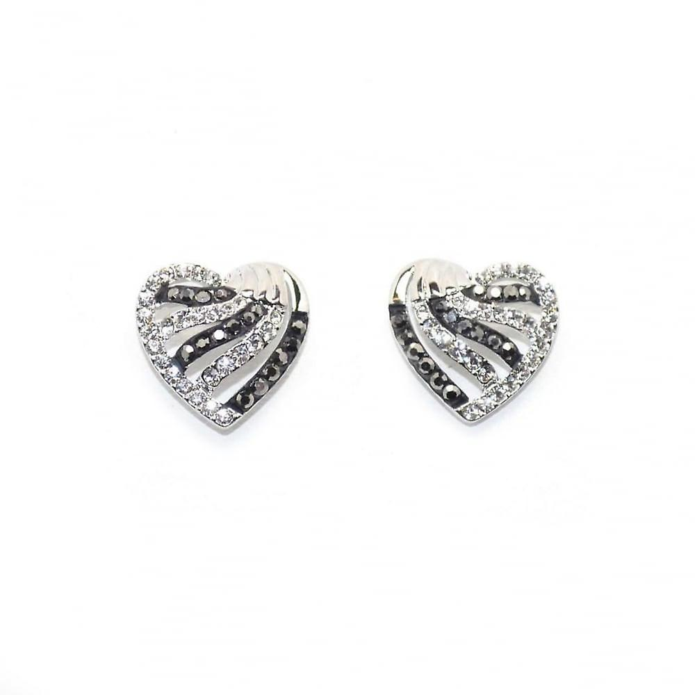 VIP Silver Plated Black & White Crystal Set Heart Stud Earrings