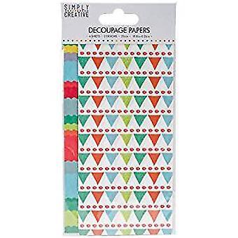 Simply Creative FSC Decoupage Paper - Bright Bunting (SCDEC047)