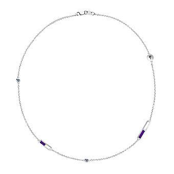 Collana di catena di zaffiro della New York University in Sterling Silver Design di BIXLER