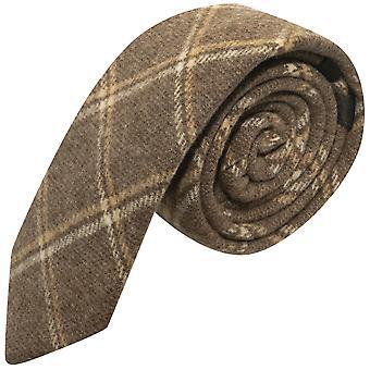 Cravatta marrone Check di patrimonio Pecan, Tweed