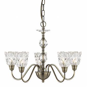 5 luz multi braço pingente de teto de bronze antigo, candelabros