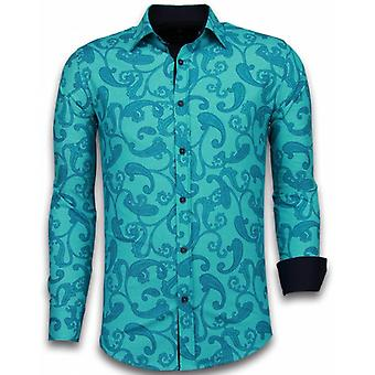 E Shirts - Slim Fit - Baroque Pattern - Turqoise
