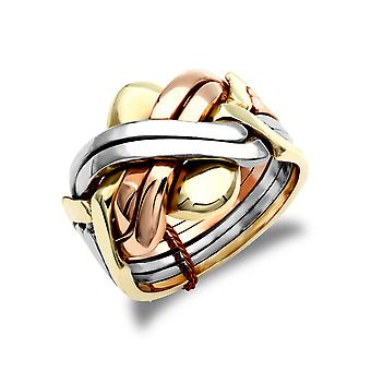 Jewelco London Men's Solid 9ct Yellow White and Rose Gold 6 Piece Puzzle Ring Jewelco London Men's Solid 9ct Yellow White and Rose Gold 6 Piece Puzzle Ring Jewelco London