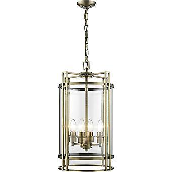 Diyas Eaton Pendant 4 Light Antique Brass/Glass