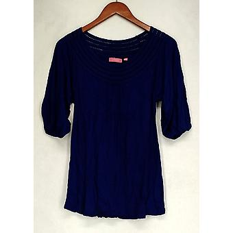Ava Rose Lattice Embellished 3/4 Sleeve Knit Tee Blue Top Womens #1
