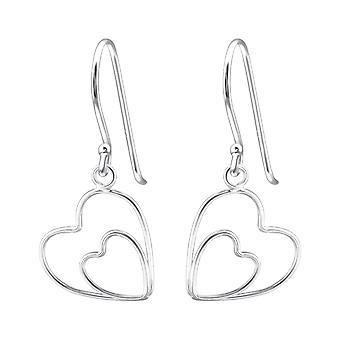 Double Heart - 925 Sterling Silver Plain Earrings - W20235X