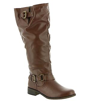 XOXO Womens Moira Faux Leather Buckle Mid-Calf Boots