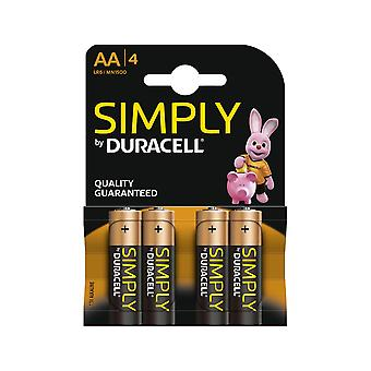 Duracell Simply AA Batteries - 4 Pack