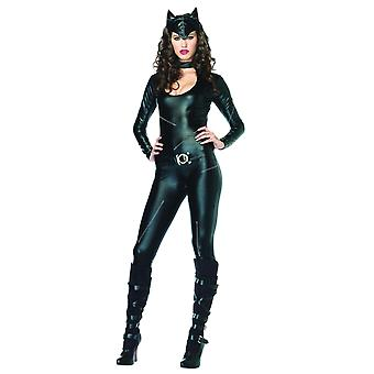 Womens Catwoman Outfit Black Catsuit Halloween Fancy Dress Jumpsuit
