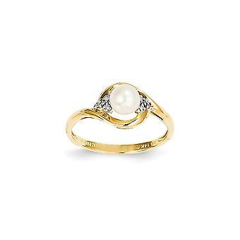 14 k amarillo oro diamante pulido y agua dulce anillo de perla cultivada -.02 dwt cwt 1,13