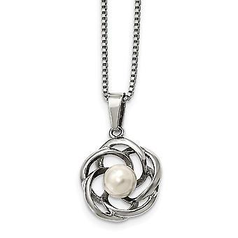 Edelstahl poliert Süßwasser kultiviert Eperle Halskette 18 Zoll Schmuck Geschenke für Frauen