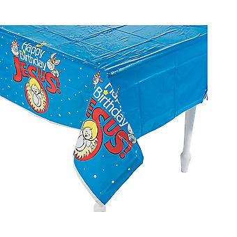 Happy Birthday Jesus Plastic Christmas Party Tablecover -  2.7m x 1.4m