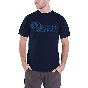Queen T Shirt News Of The World Vintage Logo 40 years Official Mens Navy Blue