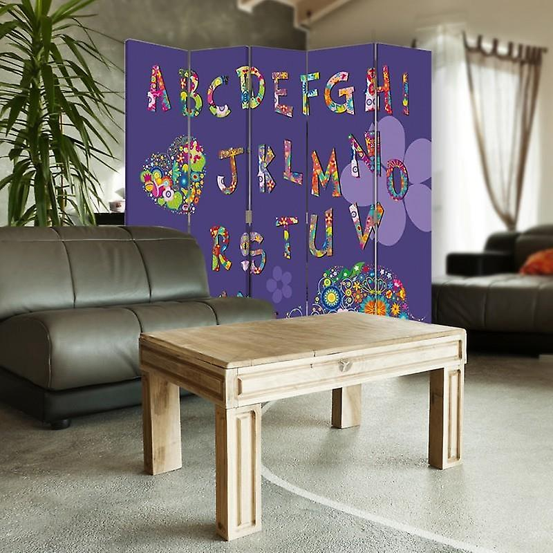 Diviseur de chambre, 5 panneaux, toile, alphabet