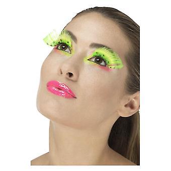 80s prickiga ögonfransar, Neon Green, innehåller lim maskeraddräkter tillbehör