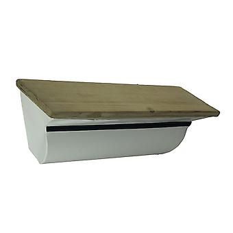 Curved White Metal Wood Topped Wall Mounted Display Shelf