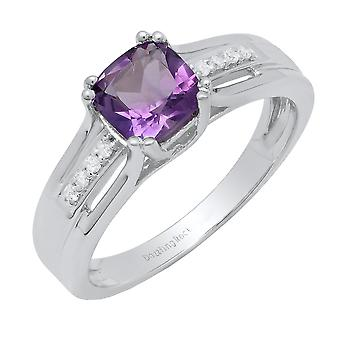 Dazzlingrock Collection Sterling Silver 6 MM Cushion Amethyst & Round Diamond Ladies Bridal Engagement Ring