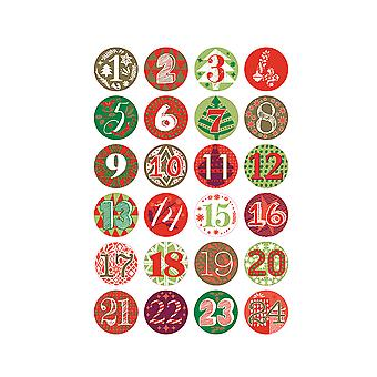 24 Numbered Badges for Advent Calendar Crafts - Green & Red
