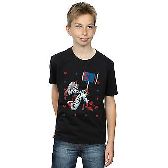 DC Comics Boys Harley Quinn Playing Card Suit T-Shirt