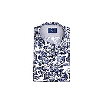 R2 Long Sleeved Shirt Blue/white Patterned