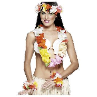 Colouful Flower Garland Hawaiian Luau Theme Fancy Dress Costume Accessory Kit