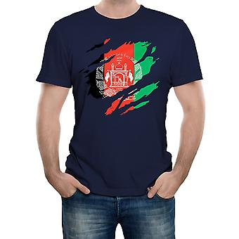 Reality glitch torn afghanistan flag mens t-shirt