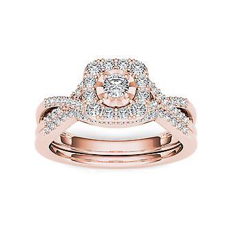 Igi certifierad 10k steg guld 0,40 ct rundskuren diamant halo förlovningsring set