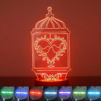 Bird Cage Heart and 2 Birds Colour Changing LED Acrylic Light