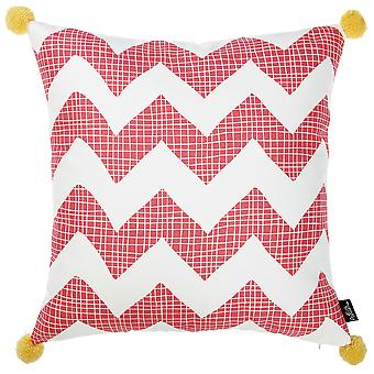 Pink Chevron and Pom Printed Decorative Throw Pillow Cover.