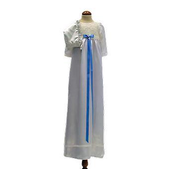Dopklänning Och Dophätta I Off White, Blå Smal Rosett. Ma.la
