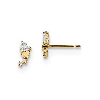 3.5mm 14k Madi K for boys or girls CZ Cubic Zirconia Simulated Diamond Love Heart Post Earrings