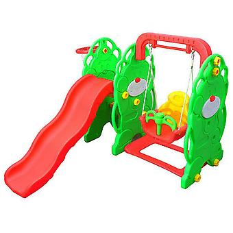 HOMCOM Kids Garden Playground 3in1 with Swing Toddler Nursery Activity Play Centre with Basketball Hoop Green