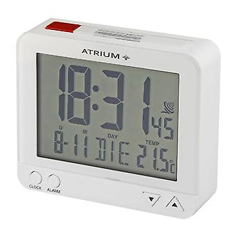 ATRIUM Alarm Clock Digital Quartz Radio Alarm Clock A760-0 Night Light Temperature Indicator White