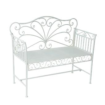 Outsunny Garden 2 Seater Metal Bench Park Seating Outdoor Furniture w/ Decorative Backrest White