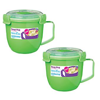 Sistema Set of 2 Soup Mugs 565ml, Green