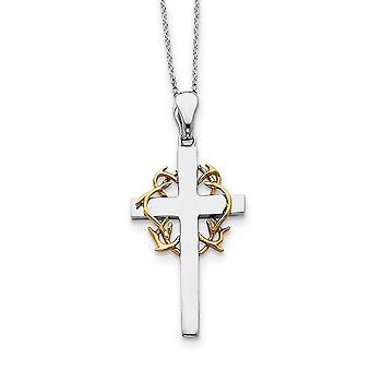 925 Sterling Silver Polished Spring Ring Acento dourado chapeamento Religious Faith Cross Colar 18 Polegadas Joias Presentes para Wo