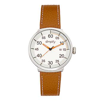 Simplify The 7100 Leather-Band Watch w/Date - Brown/Silver