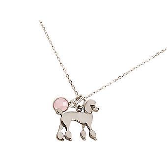 Halskjede puddel puddel hund med rose kvarts i 925 sølv, gullbelagt eller rose