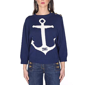 Elisabetta Franchi Mk12l01e2y79 Women's Blue Cotton Sweater