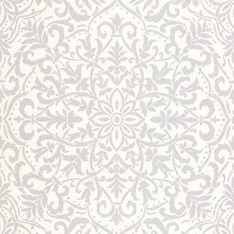 Decorline Vision Antila Motif Damask Wallpaper White Fine Decor DL22813