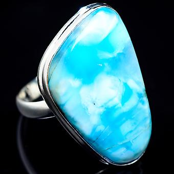 Large Larimar Ring Size 12.5 (925 Sterling Silver)  - Handmade Boho Vintage Jewelry RING4954