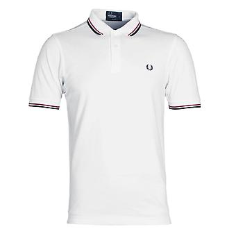 Fred Perry M3600 Twin Tipped Polo Shirt - White & Navy