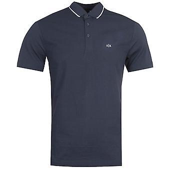 Armani Austausch Seersucker Marine Polo Shirt