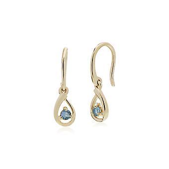 Classic Single Stone Round Swiss Blue Topaz Tear Drop Pendientes en oro amarillo de 9 qt 135E1190099