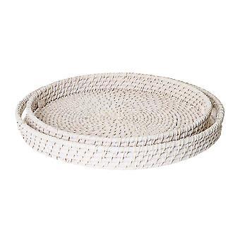 Rattan Set of 2 Trays Large: 45x8cm , Medium: 40x6cm White Wash