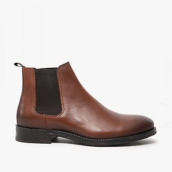 Jack & Jones Jason Mens Leather Chelsea Boots Cognac